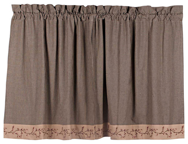 "Berry Vine Gingham 36"" Curtain Tiers, Black Throughout Barnyard Window Curtain Tier Pair And Valance Sets (View 16 of 50)"