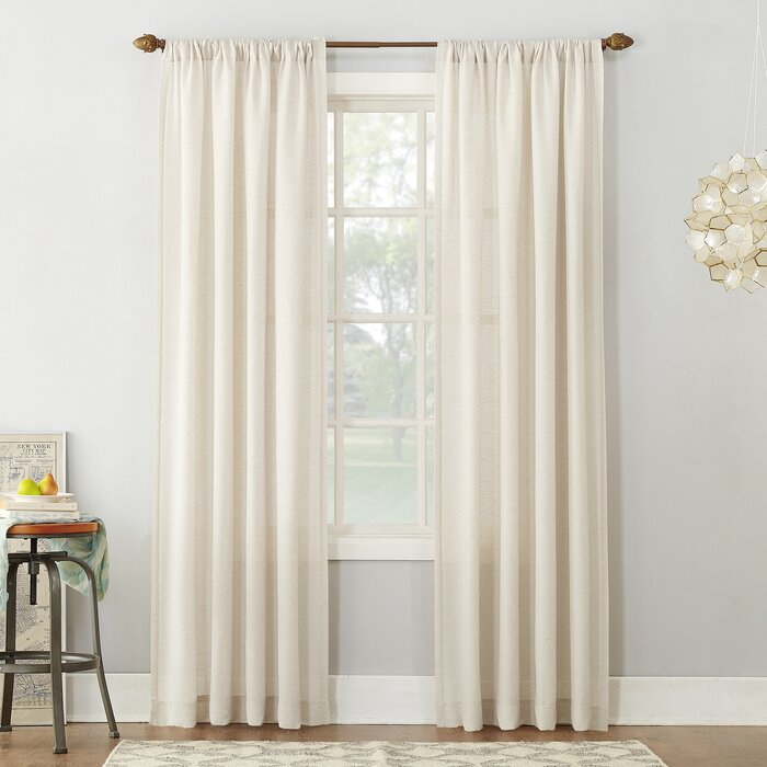 Berwick Linen Blend Solid Semi Sheer Rod Pocket Single Curtain Panel Throughout Linen Stripe Rod Pocket Sheer Kitchen Tier Sets (#4 of 46)