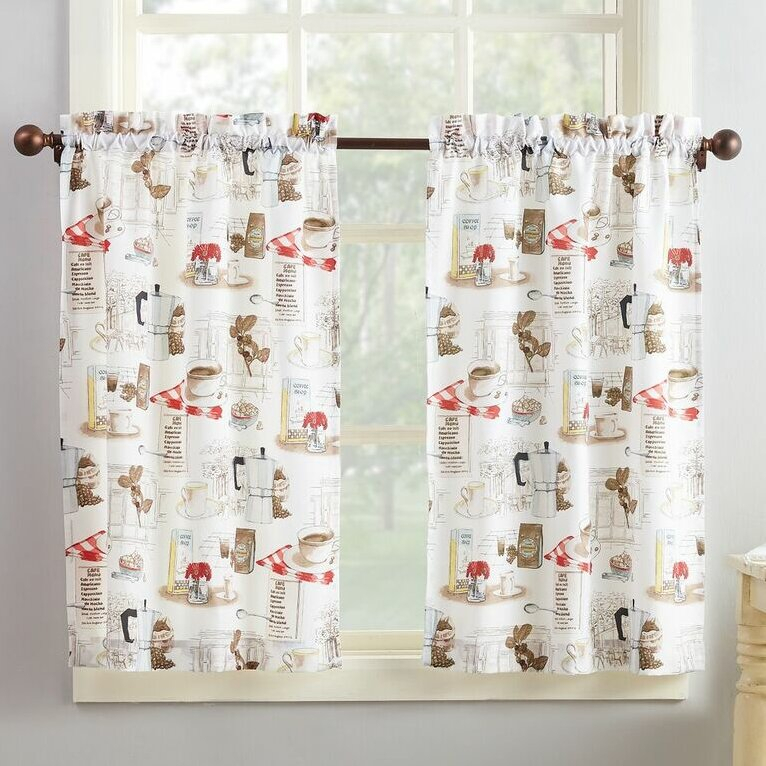 Bessie Kitchen Curtain Inside Geometric Print Microfiber 3 Piece Kitchen Curtain Valance And Tiers Sets (View 2 of 30)