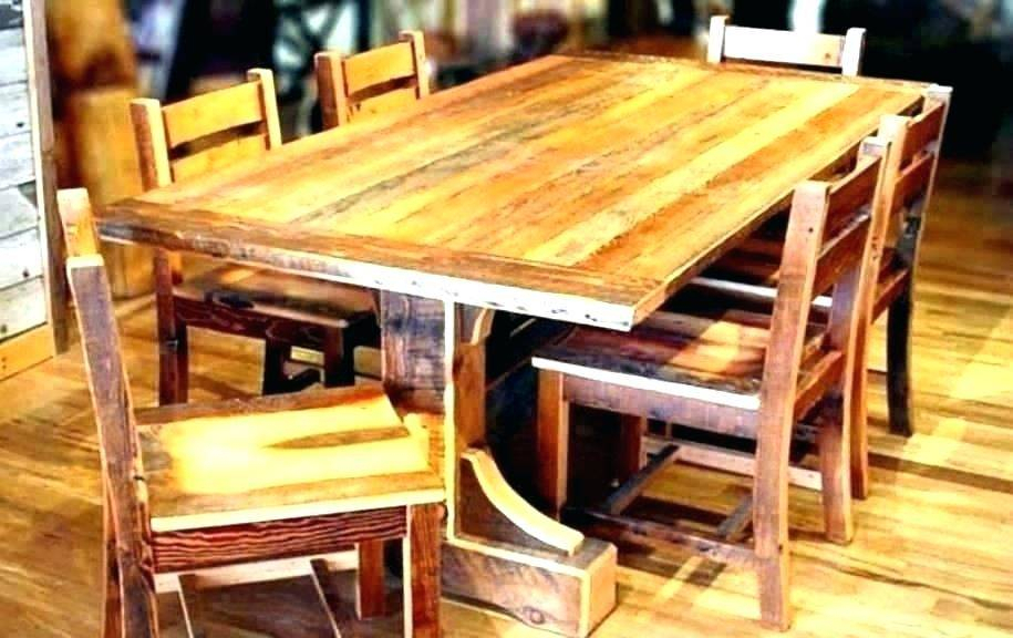 Best And Newest Reclaimed Wood Dining Table Set Rustic Beam Extendable Intended For Hart Reclaimed Extending Dining Tables (#2 of 20)