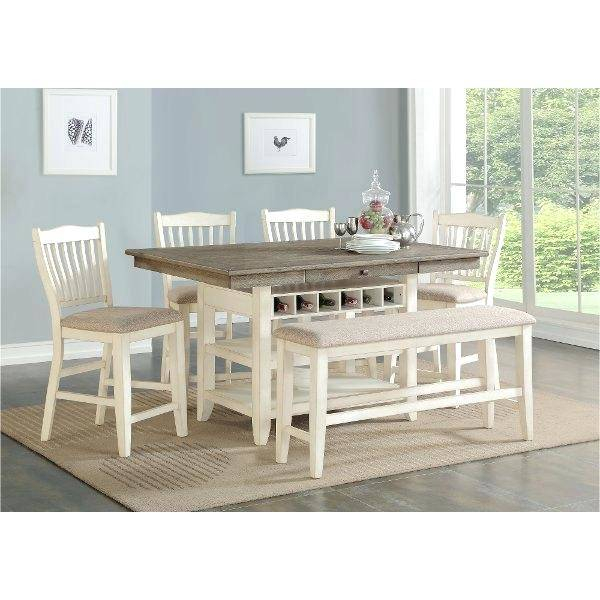 Best And Newest White And Gray Dining Table Counter Height Piece Set Grace Regarding Chapman Round Marble Dining Tables (#4 of 30)