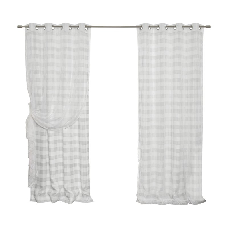 Best Home Fashion Sheer Triangle And Nordic Watercolor Check For Grandin Curtain Valances In Black (View 2 of 30)