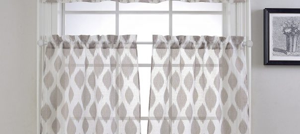 Best Kitchen Curtains And Drapes Reviews In 2019 With Geometric Print Microfiber 3 Piece Kitchen Curtain Valance And Tiers Sets (View 3 of 30)