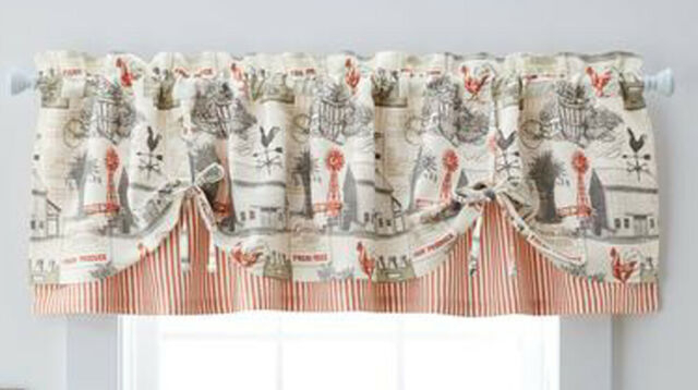 Better Homes And Gardens Farmhouse Window Valance Regarding Barnyard Buffalo Check Rooster Window Valances (View 4 of 30)