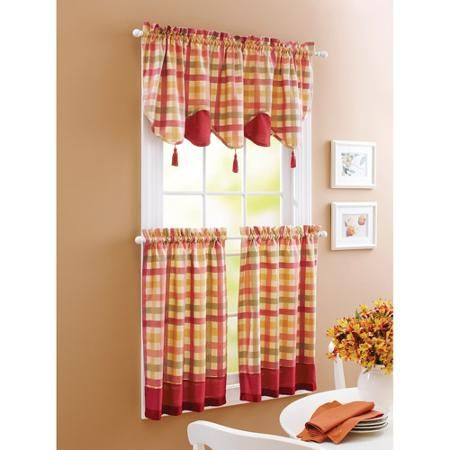 Better Homes And Gardens Red Check Window Tiers – Walmart Regarding Modern Subtle Texture Solid White Kitchen Curtain Parts With Grommets Tier And Valance Options (View 4 of 50)