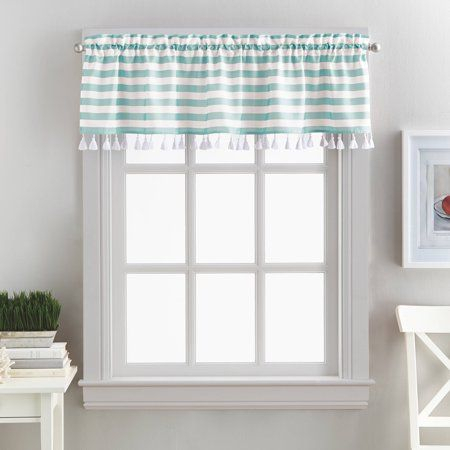 Better Homes And Gardens Stripes And Tassels Kitchen Pertaining To Tailored Valance And Tier Curtains (#6 of 50)