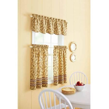Better Homes And Gardens Tuscan Retreat Valance Or Tier Set Inside Simple Life Flax Tier Pairs (View 23 of 30)