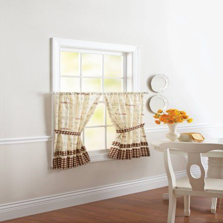 Better Homes & Gardens Caf Au Lait Set Of Tiers | Products Throughout Imperial Flower Jacquard Tier And Valance Kitchen Curtain Sets (#4 of 46)