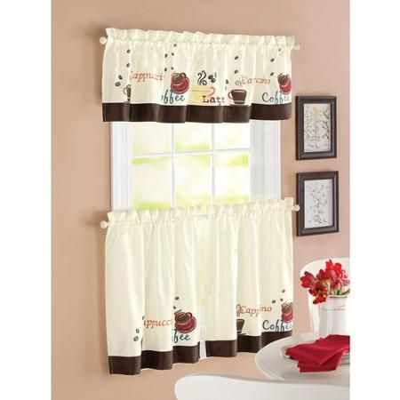 Better Homes & Gardens Coffee Window Kitchen Curtains, Set For Kitchen Window Tier Sets (#6 of 50)