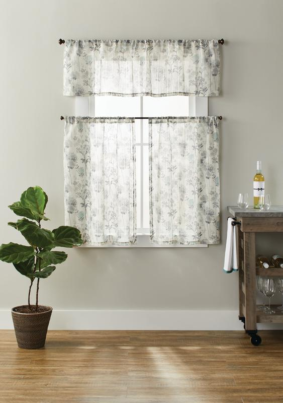 Better Homes & Gardens Tranquil Floral 3 Piece Kitchen Window Set –  Walmart Intended For Floral Watercolor Semi Sheer Rod Pocket Kitchen Curtain Valance And Tiers Sets (View 3 of 50)