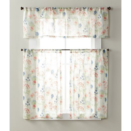 Better Homes & Gardens Tranquil Floral Small Window Set Regarding Geometric Print Microfiber 3 Piece Kitchen Curtain Valance And Tiers Sets (View 4 of 30)