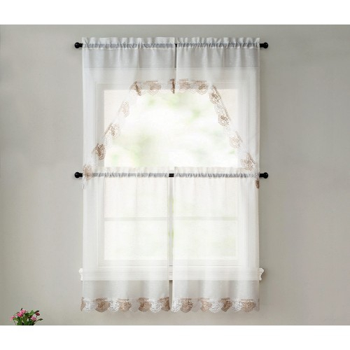 Betty 4 Piece Macrame Tier And Swag Kitchen Curtain Set, Beige Taupe, 27x36 Inches Inside Chardonnay Tier And Swag Kitchen Curtain Sets (View 18 of 50)