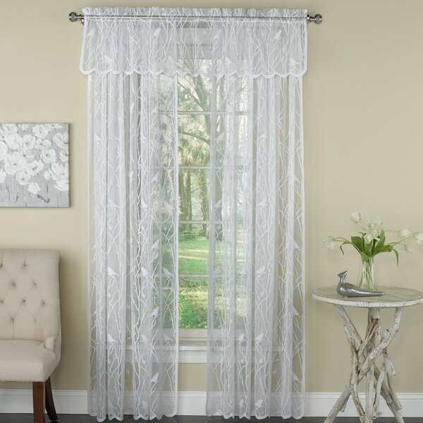 Bird Lace Curtains | Wayfair Throughout White Knit Lace Bird Motif Window Curtain Tiers (View 5 of 50)