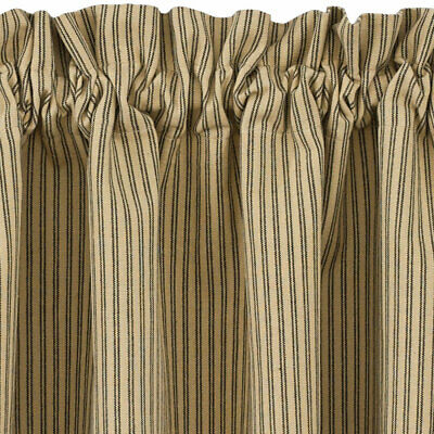 Black And Tan Ticking Stripe Curtain Tiers Primitive Star 24 Within Classic Black And White Curtain Tiers (View 4 of 50)