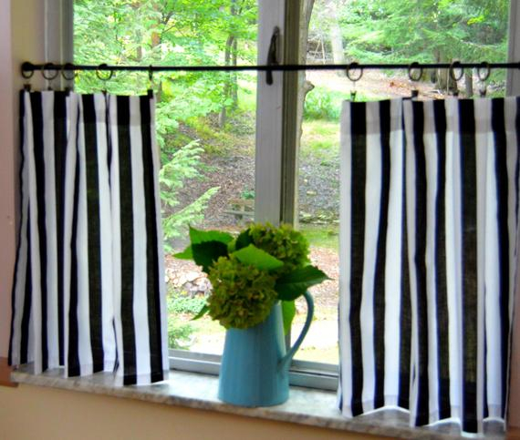 Black And White Stripe Cafe Curtains . Stripe Tiers . Cottage Curtains .  Farmhouse  (View 5 of 50)