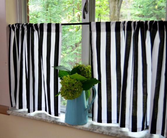 Black And White Stripe Cafe Curtains . Stripe Tiers . Cottage Curtains .  Farmhouse  (View 6 of 50)