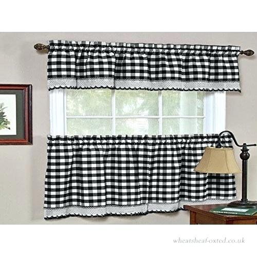 Black And White Window Treatments With Regard To Present Throughout Grey Window Curtain Tier And Valance Sets (View 6 of 50)