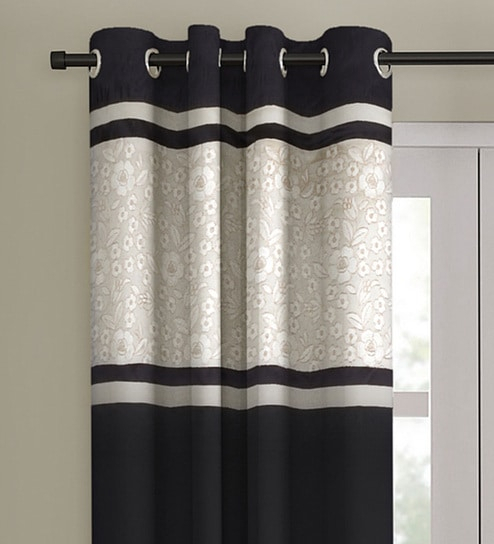 Black Blackout Satin 9 Feet Eyelet Long Door Curtaineyda Inside Embroidered 'coffee Cup' 5 Piece Kitchen Curtain Sets (View 10 of 30)