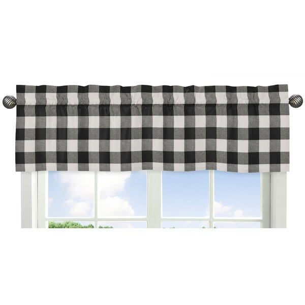 Black Buffalo Plaid Valance | Wayfair With Classic Navy Cotton Blend Buffalo Check Kitchen Curtain Sets (View 3 of 30)