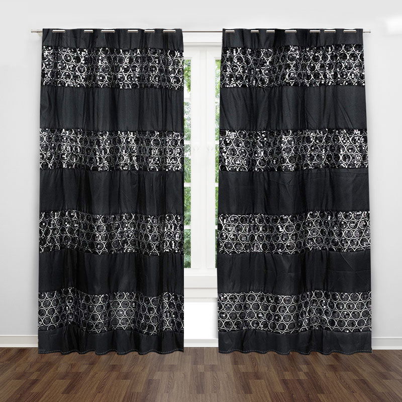 Black Circle Pattern Window Coverings Opaque Valance Modern Simple Throughout Circle Curtain Valances (View 4 of 30)