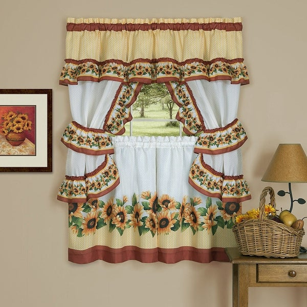 Black Eyed Susan 3 Piece Kitchen Curtain Valance & Tiers Cottage Set,  Spice, 57X36 – N/a Throughout Cottage Ivy Curtain Tiers (#12 of 49)