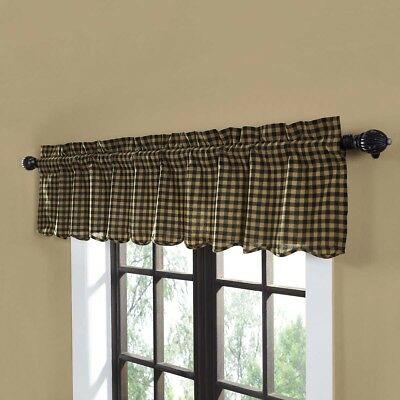 Black Primitive Kitchen Curtains Cody Black Check Valance Rod Pocket Cotton  | Ebay Regarding Primitive Kitchen Curtains (#1 of 30)