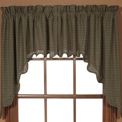 Black Primitive Kitchen Curtains Prim Grove Plaid Swag Pair Rod Pocket |  Ebay With Primitive Kitchen Curtains (#4 of 30)