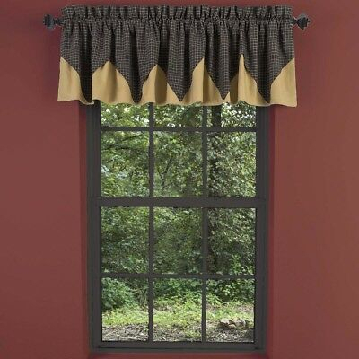 Black Primitive Kitchen Curtains Prim Grove Plaid Valance Rod Pocket Cotton  | Ebay For Primitive Kitchen Curtains (#5 of 30)