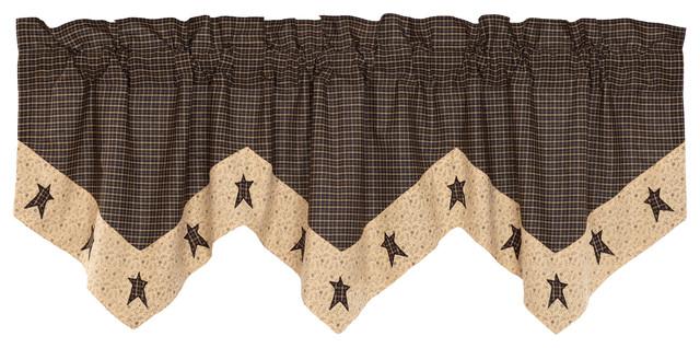 Black Primitive Kitchen Curtains Prim Grove Star Valance Rod Pocket Cotton Pertaining To Primitive Kitchen Curtains (#6 of 30)