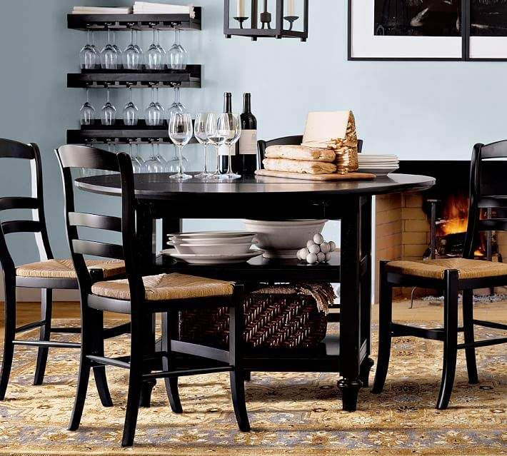 Black Shayne Drop Leaf Kitchen Tables Throughout Preferred Pottery Barn Shayne Drop Leaf Kitchen Table, Salvaged Black (View 1 of 20)