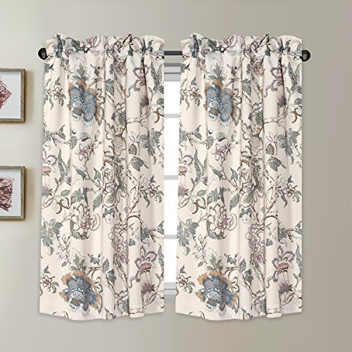 Blackout Energy Saving Ultra Soft Casual Kitchen Curtains Rod Pocket Window  Curtain Tiers For Café, Bath, Laundry, Bedroom – Vintage Floral Pattern In With Regard To Floral Pattern Window Valances (View 4 of 50)