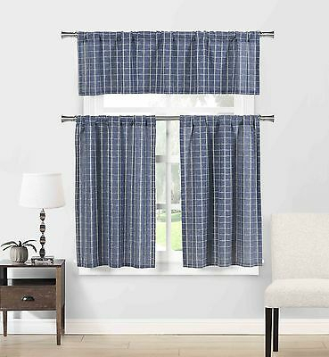 Blue Cotton Blend 3 Pc Kitchen Curtain/cafe Tiers Set: Plaid, 1 Valance, 2  Tiers 792945905815 | Ebay With Regard To Cotton Blend Grey Kitchen Curtain Tiers (View 3 of 47)
