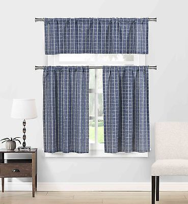 Blue Cotton Blend 3 Pc Kitchen Curtain/cafe Tiers Set: Plaid, 1 Valance, 2  Tiers 792945905815 | Ebay Within Ivory Micro Striped Semi Sheer Window Curtain Pieces (#6 of 50)