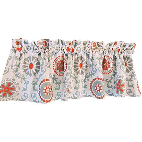 Blue Curtain Valance For Windows – Crabtree Collection In Medallion Window Curtain Valances (#9 of 48)