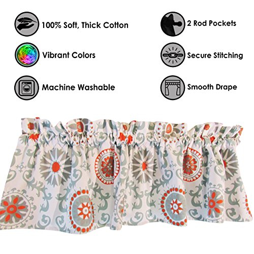 Blue Curtain Valance For Windows – Crabtree Collection Throughout Medallion Window Curtain Valances (#10 of 48)