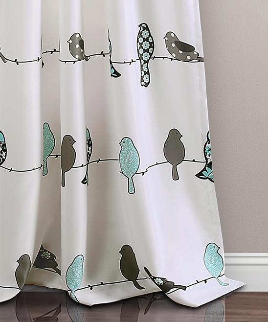 Blue & Gray Rowley Birds Room Darkening Curtain Panel – Set Of Two Inside Rowley Birds Valances (View 3 of 50)