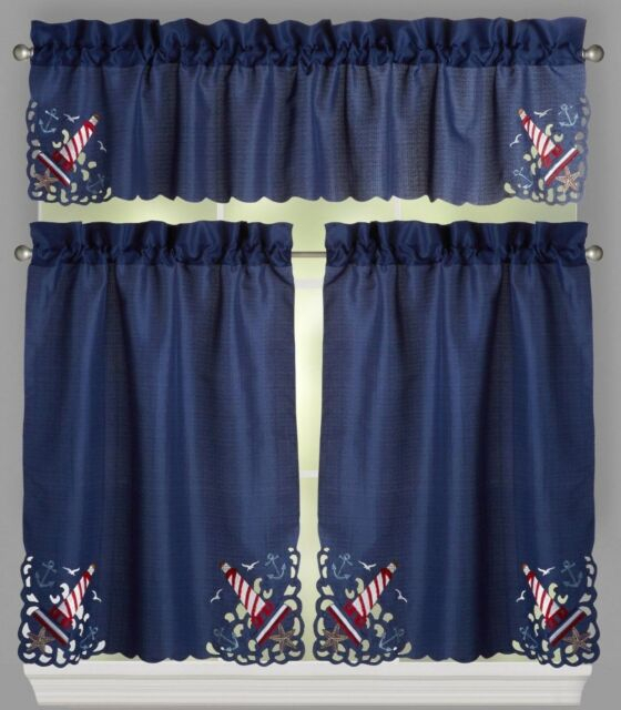 Blue Lighthouse Cutwork Window Tier And Valance Set – Nautical Beach Decor For Coastal Tier And Valance Window Curtain Sets (View 3 of 30)