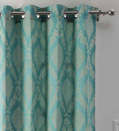 Blue Semisheer Silk 7 Feet Eyelet Door Curtainsoumya Intended For Faux Silk 3 Piece Kitchen Curtain Sets (View 8 of 44)