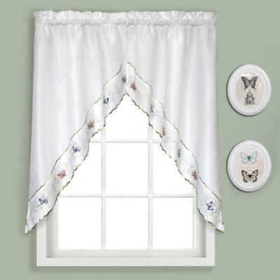 """Bradley Butterfly 36"""" Kitchen Curtain Swag Tier Pair Multi For Seabreeze 36 Inch Tier Pairs In Ocean (View 4 of 30)"""