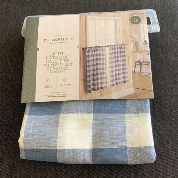 Brand New Blue Window Curtains 2 Panels Nwt Throughout Imperial Flower Jacquard Tier And Valance Kitchen Curtain Sets (#10 of 46)