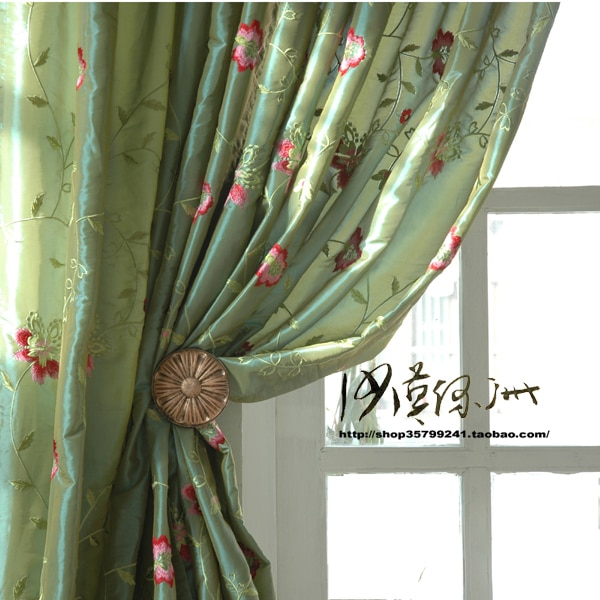 Breeze Chinese Style American Faux Silk Embroidered Curtain With Floral Embroidered Faux Silk Kitchen Tiers (View 5 of 50)