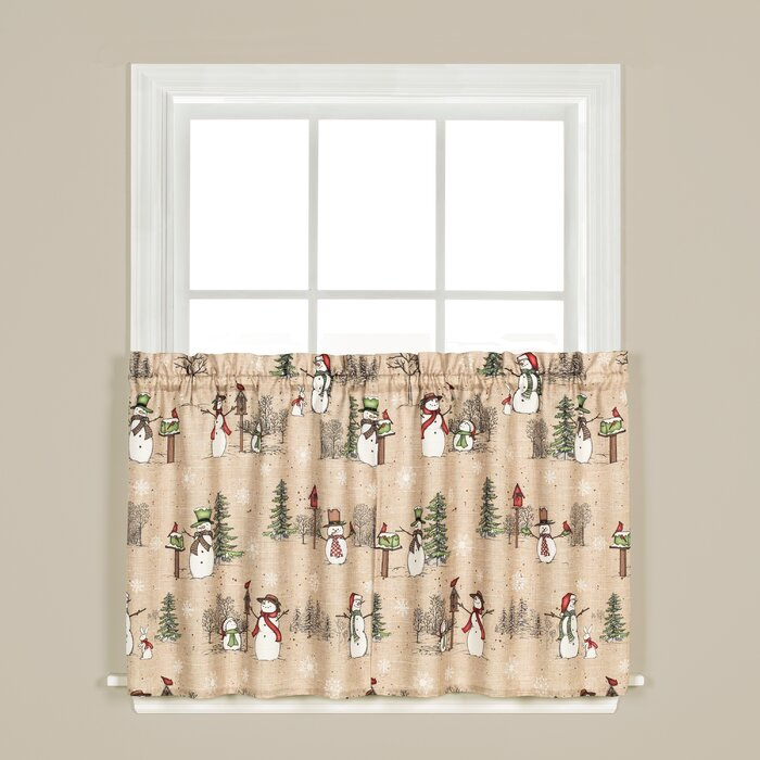 Brenna Snowman Tier Pair Cafe Curtain With Regard To Forest Valance And Tier Pair Curtains (View 1 of 30)