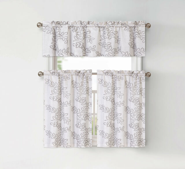 Brielle Embroidered Floral Kitchen Curtain Tier & Valance Set – Assorted  Colors In Floral Embroidered Sheer Kitchen Curtain Tiers, Swags And Valances (View 5 of 50)