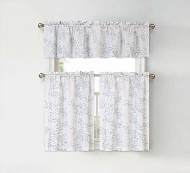 Brielle Embroidered Floral Kitchen Curtain Tier & Valance Set – Assorted  Colors With Floral Embroidered Sheer Kitchen Curtain Tiers, Swags And Valances (View 6 of 50)