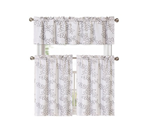 Brielle Embroidered Floral Linen Blend Kitchen Curtain Tier Within Floral Embroidered Sheer Kitchen Curtain Tiers, Swags And Valances (View 7 of 50)