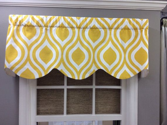 Bright Yellow Trellis Pattern Scalloped Regarding Trellis Pattern Window Valances (#3 of 30)
