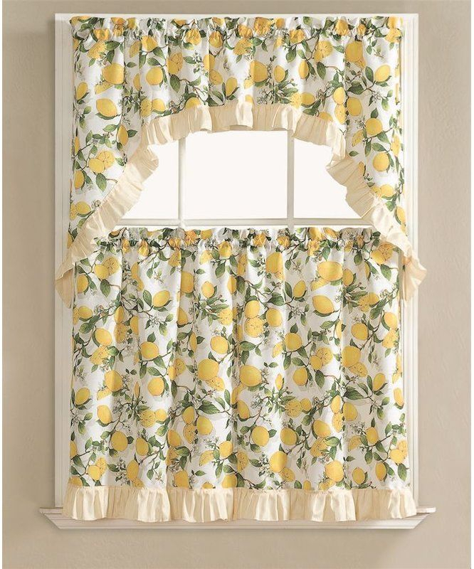 Brookland Lemon Fest Kitchen Curtain Set In 2019 | Kitchen Within Lemon Drop Tier And Valance Window Curtain Sets (#8 of 30)