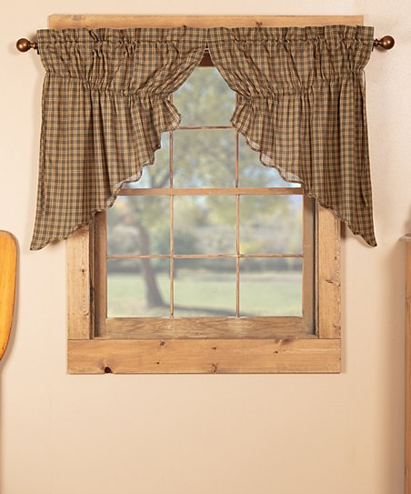 Brown Cedar Ridge Prairie Swag – Set Of Two | Zulily Throughout Check Scalloped Swag Sets (View 3 of 30)