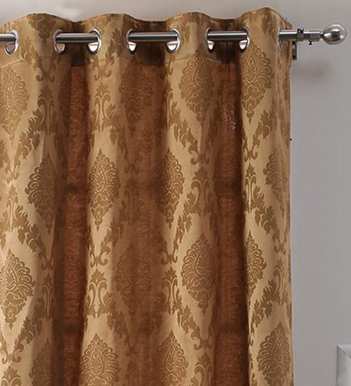 Brown Semisheer Silk 7 Feet Eyelet Door Curtainsoumya With Faux Silk 3 Piece Kitchen Curtain Sets (View 9 of 44)