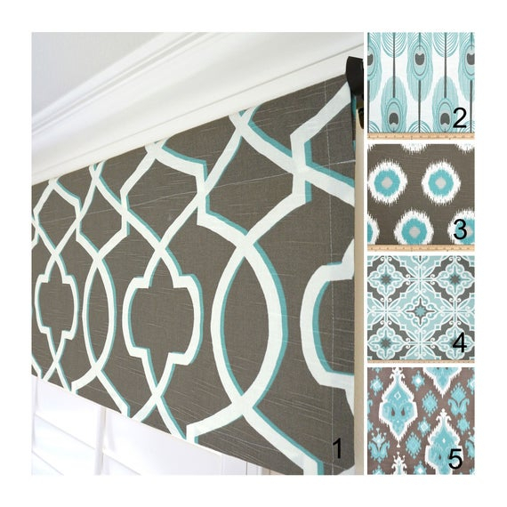 Brown Valances.aqua Valance.light Blue Valance.aqua Window Valance.kitchen  Valance.trellis Valance.custom Valances (#4 of 30)